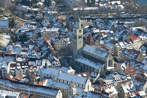 Germany, Baden-Wurttemberg, Uberlingen, Aerial view with St Nicholas' Minster in winter - SH001043