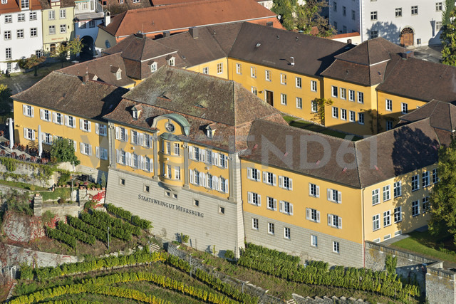 Germany, Baden-Wurttemberg, Meersburg, State wine-growing estate Meersburg, aerial view - SH001082