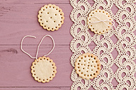 Butter cookies with peekaboo design on crochet tablecloth - ECF000386
