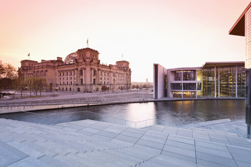 Germany, Berlin, View of Reichstag parliament building at Spree river in the evening, right Paul Loebe House - MS003108