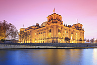 Germany, Berlin, View of Reichstag parliament building in the evening - MSF003099