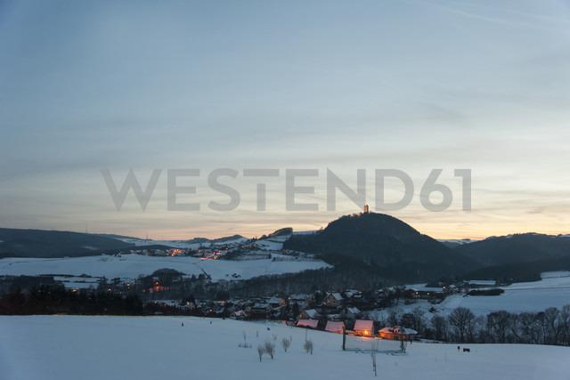 Germanyy, Rhineland-Palatinate, Rhein valley, Niederduerenbach with Olbrueck Castle in winter - PA000046