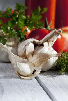 Garlic and herbs, close up - CSF020478