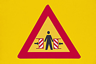Germany, warning sign on yellow ground - VI000013