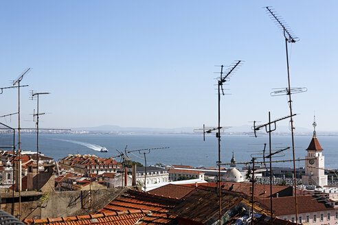 Portugal, Lisbon, Bica, View from Miradouro de Santa Catarina to Tejo - BIF000178