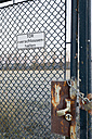 Germany, Hamburg Harbor, Sign at a fence - MSF003161