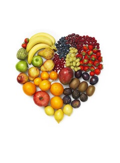 Variety of vegetables and fruits on white background, heart shape - STKF000890
