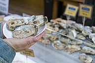 USA, California, San Francisco, Woman holding a paper plate with fresh raw oysters - ABA001089