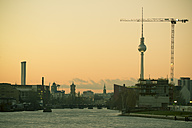Germany, Berlin, View from Oberbaum bridge to TV Tower and Red Townhall - CM000026