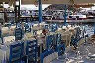 Turkey, Bodrum, Guemuesluek, Fish restaurant at harbor - SIE004856