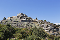 Turkey, Lycia, Ancient city Tlos, Acropolis with fortress and Lycian rock tombs - SIEF004886