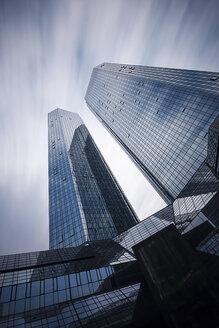 Germany, Hesse, Frankfurt, high-rise buildings of Deutsche Bank, long exposure - WA000031