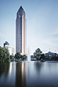 Germany, Hesse, Frankfurt, view to exhibition tower, long exposure - WA000036