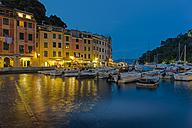Italy, Liguria, Portofino, Boats in harbour at blue hour - AMF001507