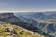 Spain, Aragon, Central Pyrenees, Ordesa y Monte Perdida National Park, Canon de Anisclo, View to Parque Natural de la Sierra y Canones de Guara - LAF000356