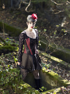 Young woman wearing Steampunk clothing, Victorian style - BSCF000404