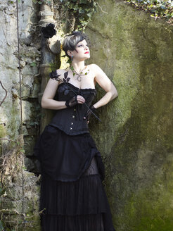 Young woman wearing Steampunk clothing, Victorian style - BSCF000406
