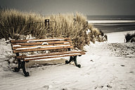 Germany, Lower Saxony, bench at the beach of Langeoog - EVGF000288
