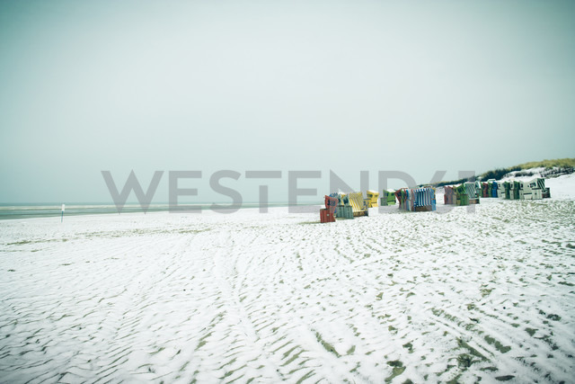 Germany, Lower Saxony, beach chairs at the beach of Langeoog - EVGF000290