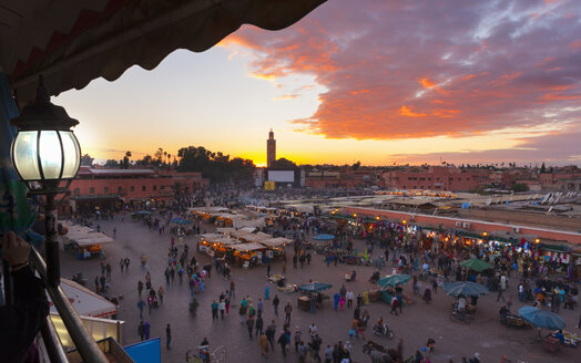 Morocco, Marrakech, view to Djemaa el-Fna square at dusk - HSI000310