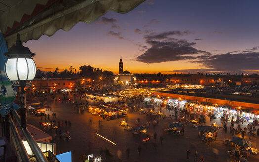 Morocco, Marrakech, view to Djemaa el-Fna square at dusk - HSIF000311