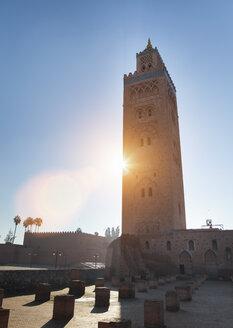 Morocco, Marrakech, Koutobiya Mosque at sunset - HSIF000333