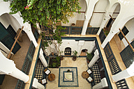 Morocco, Marrakech, interior of historic Riad renovated as a hotel, elevated view - HSI000335