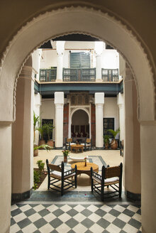 Morocco, Marrakech, interior of historic Riad renovated as a hotel - HSI000336