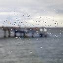 Germany,  Schleswig-Holstein, Heiligenhafen, raindrops on window. pier - WIF000246
