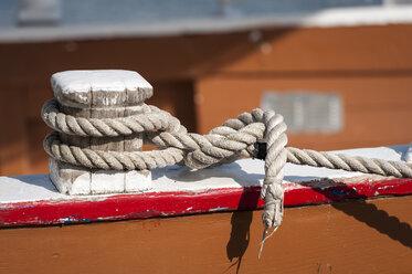 Croatia, Istria, Vrsar, part of anchored boat - KJF000291