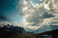 Italy, Province of Belluno, Veneto, Auronzo di Cadore, Tre Cime di Lavaredo, cloudscapes - MJ000482