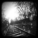 Rails in the rain, Germany, North Rhine-Westphalia, Minden - HOHF000293