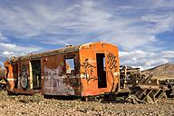South America, Bolivia, Salar de Uyuni, train cemetery, wreck of a train car - STSF000280