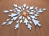 Light blue arrows and an orange one, 3D Rendering - UWF000010