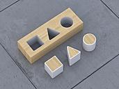 Geometric forms lying on concrete flooring, 3D Rendering - UWF000013