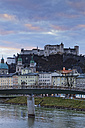 Austria, Salzburg State, Salzburg, fortress Hohensalzburg with old town and towers of Salzburg Cathedral, Salzach River - GF000343