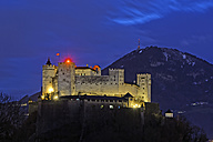 Austria, Salzburg State, Salzburg, View from Moenchsberg to Hohensalzburg Castle at night - GF000354