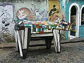Street, cobblestone, street art, colorful, cow, art object, Netherlands - FMK001120
