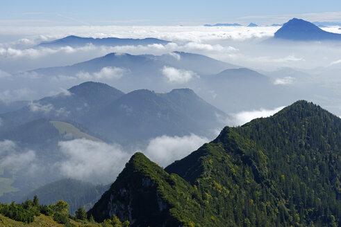Germany, Upper Bavaria, Bavaria, Chiemgau Alps, Bergen, Teisenberg, Hoellen Mountains, Hochstaufen from Hochfelln - LB000478