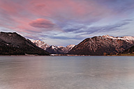 Austria, Tyrol, Eng, Achensee, view to Pertisau by afterglow - GFF000385