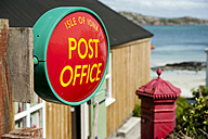 UK, Scotland, Inner Hebrides, Iona, sign of post office - PA000207