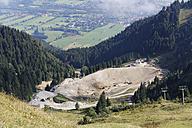Germany, Bavaria, Upper Bavaria, Bavarian Prealps, Isarwinkel, construction site, reservoir for snowmaking at Brauneck near Lenggries - SIE004932