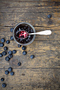 Blueberries (Vaccinium myrtillus) and glass of blueberry jam with spoon on wooden table - LVF000429
