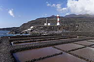 Spain, Canary Islands, La Palma, Fuencaliente, Saline, lighthouses and volcanoes Teneguia and San Antonio - SIEF004960