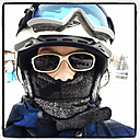 Ski rider with helmet and frozen Mask, Saalfelden, Austria - DIS000257