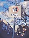 30 km/h sign in urban area, Bonn, North Rhine-Westphalia, Germany - MEAF000029
