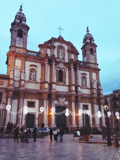 Church falling on blue hour, Palermo, Sicily, Italy - MEAF000096