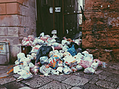 Large amount of trash in the streets of Palermo, Sicily, Italy - MEAF000098