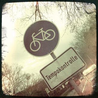 Road sign in Freiburg im Breisgau, Baden-Wurttemberg, Germany, - DHL000279