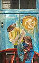 Portugal, Madeira, Funchal, painted door, fishermen - HL000368